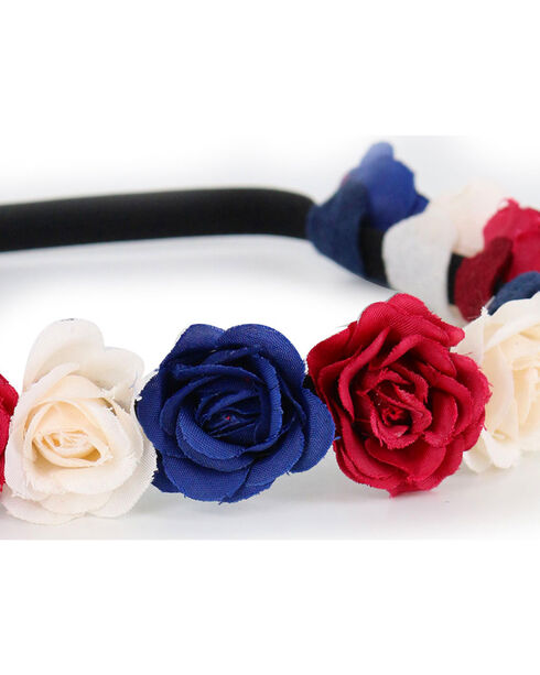 Shyanne® Women's Americana Flower Crown Headband, Red/white/blue, hi-res