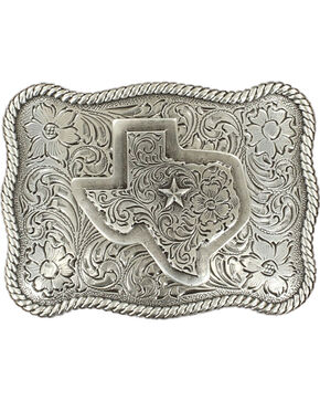 M&F Western Texas Belt Buckle, Silver, hi-res