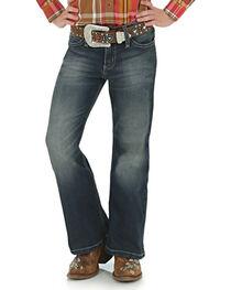Wrangler Girl's Premium Patch Boot Cut Jeans, Blue, hi-res