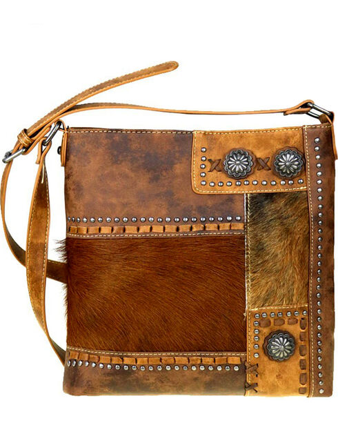 Trinity Ranch Women's Brown Hair-On Leather Conceal Carry Crossbody Bag , Brown, hi-res