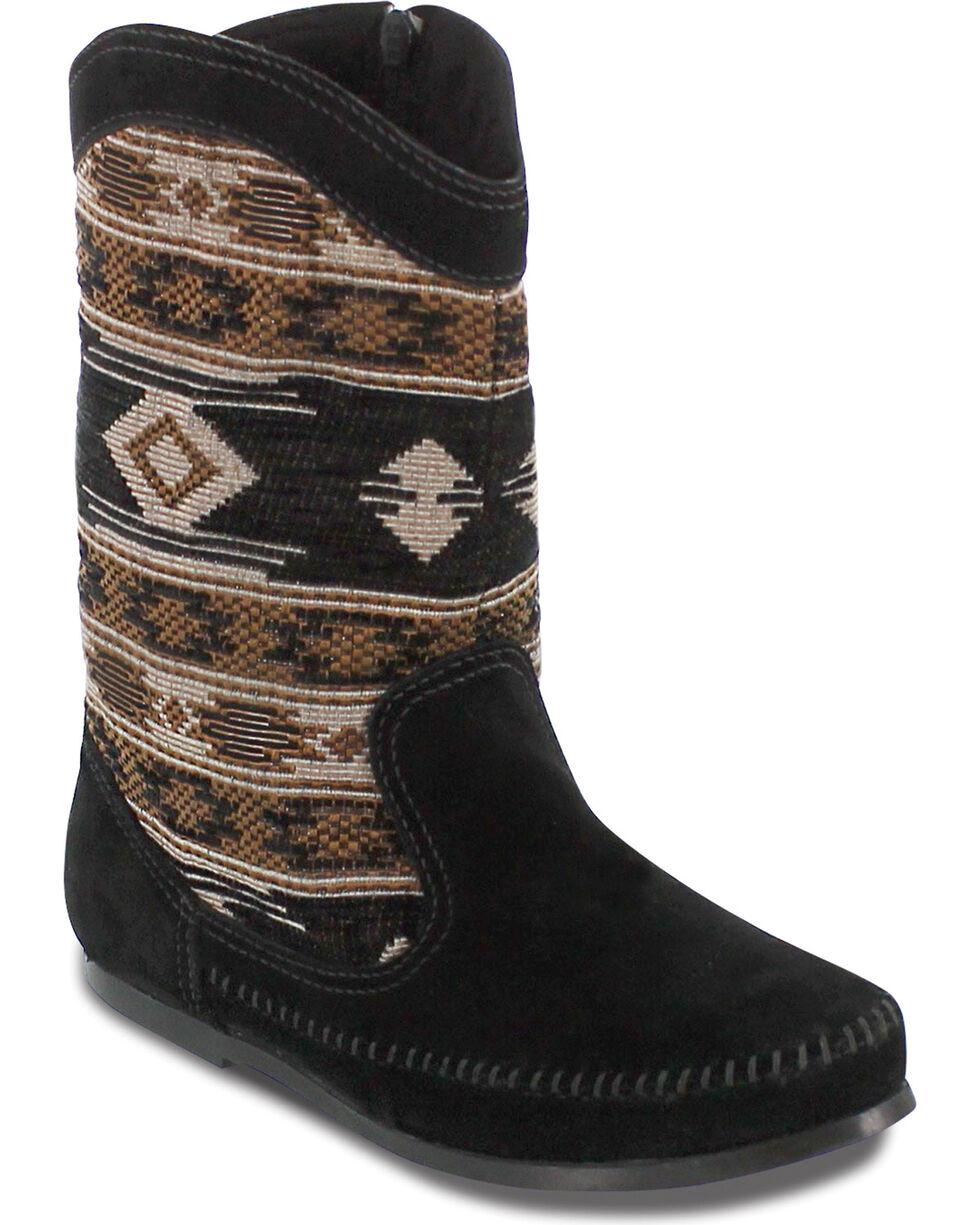 Minnetonka Women's Baja Boot Moccasins, Black, hi-res