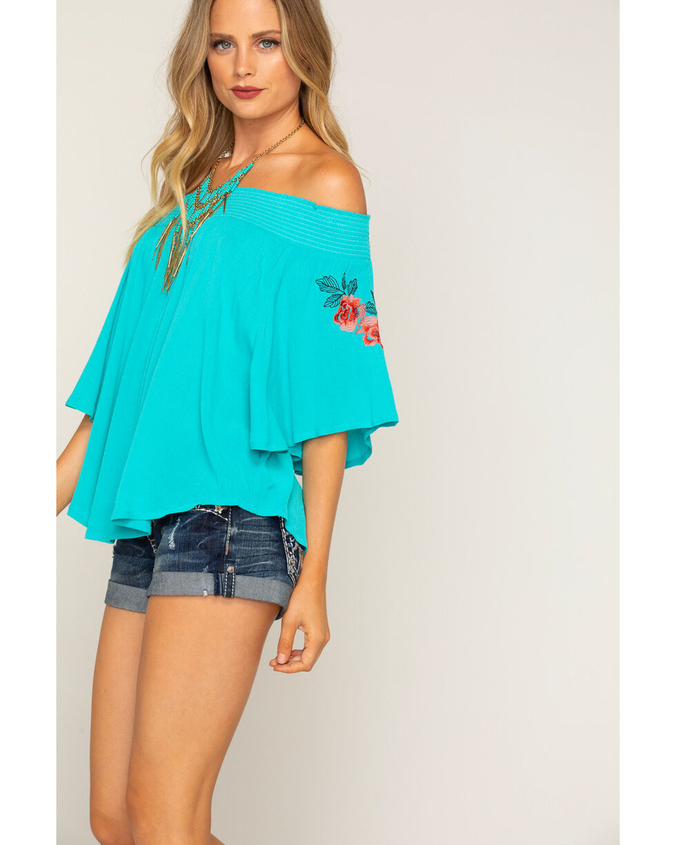 Shyanne Women's Turquoise Flowing Off The Shoulder Top, Blue, hi-res