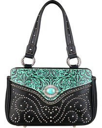Montana West Trinity Ranch Turquoise Tooled Design Handbag, , hi-res