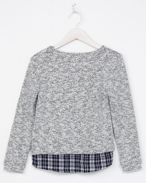 Miss Me Girls' Grey with Plaid Hem Sweater, Grey, hi-res