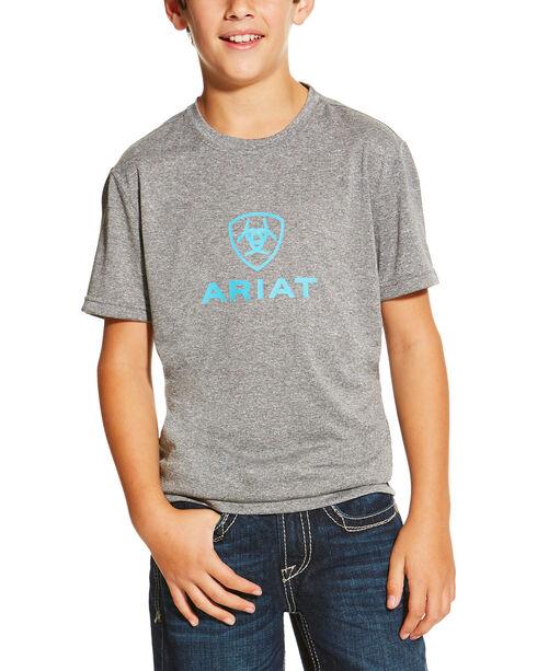 Ariat Boys' Charger Logo Tee, Grey, hi-res
