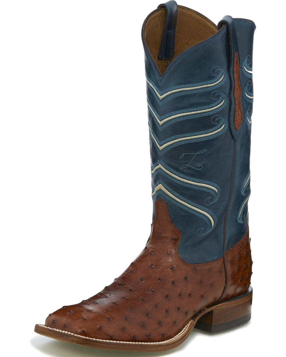 Tony Lama Men's Brown/Blue Full Quill Ostrich Cowboy Boots - Square Toe, Brown, hi-res