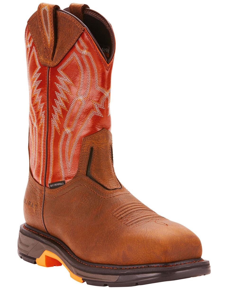 Ariat Men's Dark Brown Workhog XT Dare Boots - Carbon Toe , Tan, hi-res