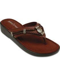 Minnetonka Silverthorne Wedge Sandals, Brown, hi-res