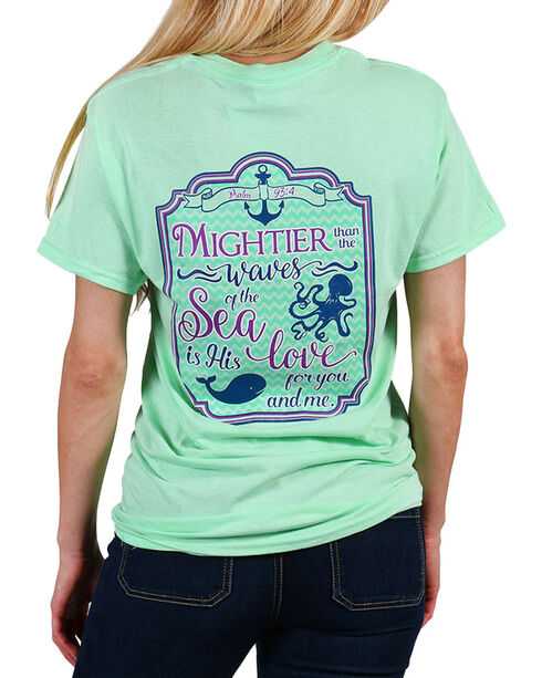 """Cherished Girl Women's """"Mightier than the Waves"""" Tee, Light/pastel Green, hi-res"""