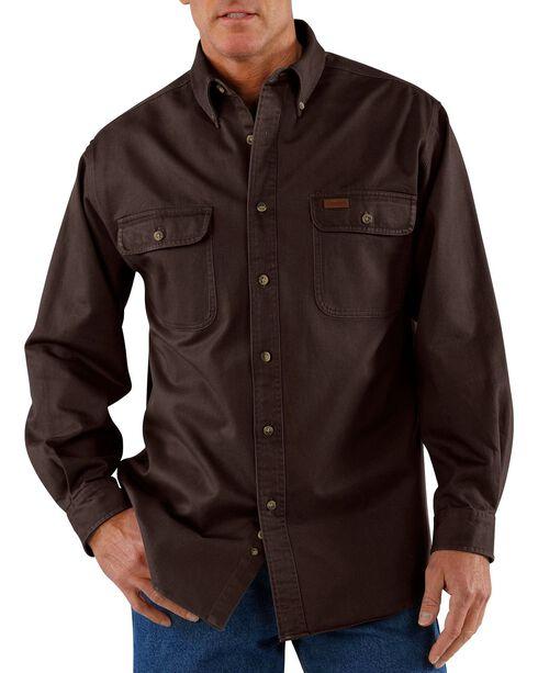 Carhartt Men's Sandstone Twill Regular Work Shirt, Dark Brown, hi-res