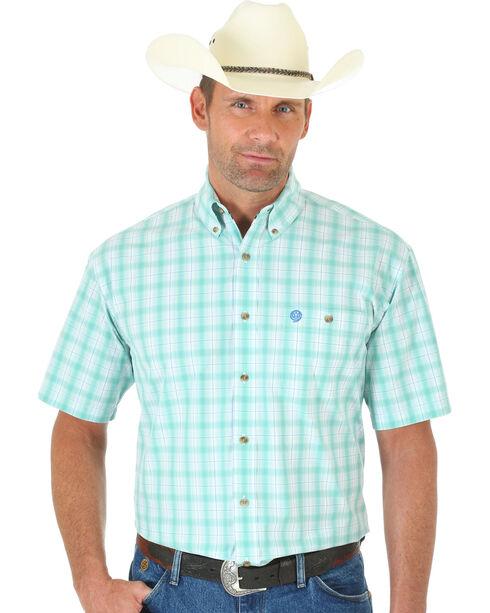 Wrangler Men's George Strait Short Sleeve Snap Plaid Western Shirt, Multi, hi-res