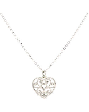 Montana Silversmiths Petite Heart's Flame Lattice Necklace, Silver, hi-res