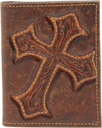 Nocona Diamond Cross Distressed Leather Bi-Fold Money Clip Wallet, , hi-res