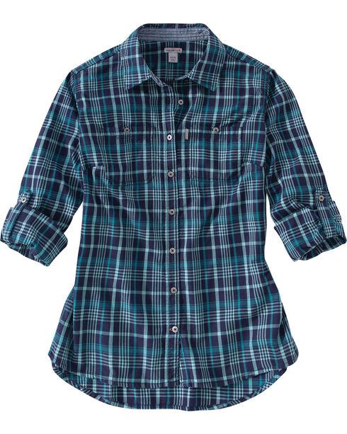 Carhartt Women's Dodson Long Sleeve Shirt, Navy, hi-res