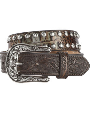 Shyanne Women's Studded Croc Print Western Belt, Brown, hi-res