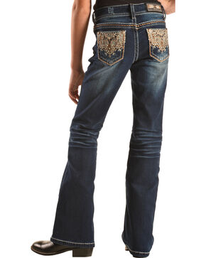 Grace in LA Girls' Dark Wash Lattice Scroll Pocket Bootcut Jeans   , Indigo, hi-res