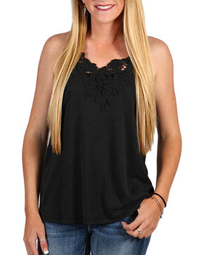 Shyanne Women's Lace Trim Tie-Back Tank Top, Multi, hi-res