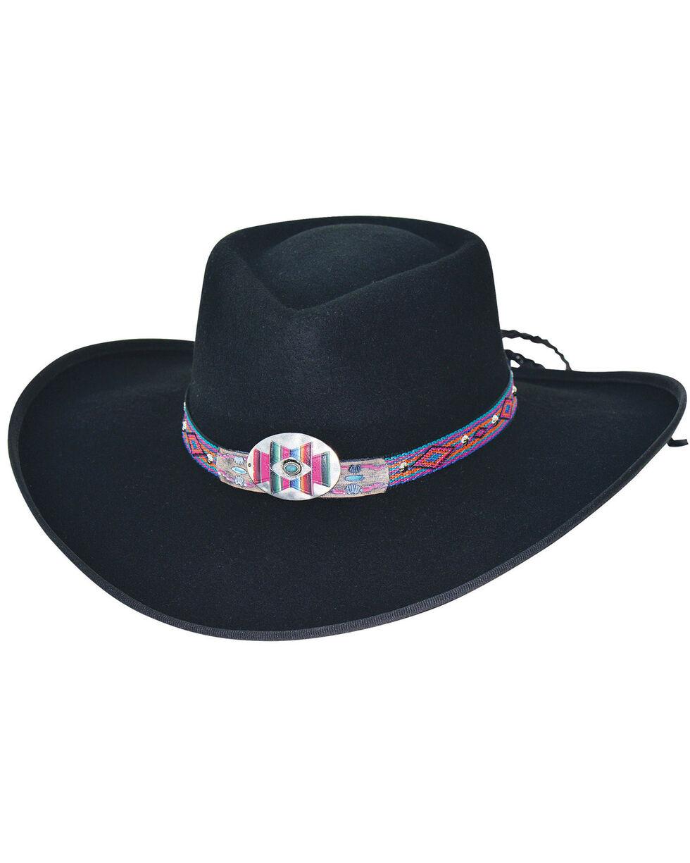 Bullhide Women's Black Shinnecock Wool Gambler Hat , Black, hi-res