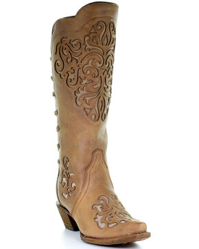 Corral Women's Braided Snip Toe Western Boots, Brown, hi-res