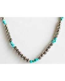 West & Co. Women's Burnished Silver Melon Bead Turquoise Stone Necklace, , hi-res