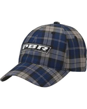 PBR Navy Blue Plaid Logo Casual Cap, Blue, hi-res