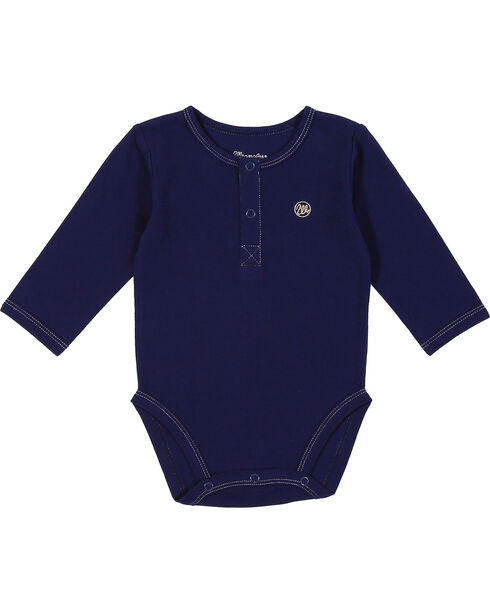 Wrangler Infant Navy Snap Placket Long Sleeve Bodysuit, Navy, hi-res