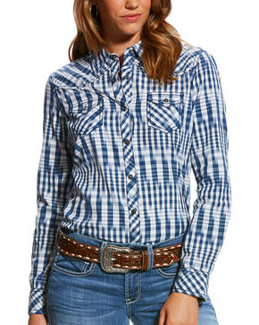 Ariat Women's R.E.A.L. Striking Long Sleeve Snap Shirt, Navy, hi-res