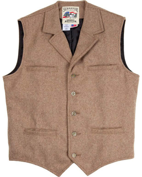 Schaefer Outfitter Men's 707 McClure Taupe Melton Wool Vest - Big , Taupe, hi-res