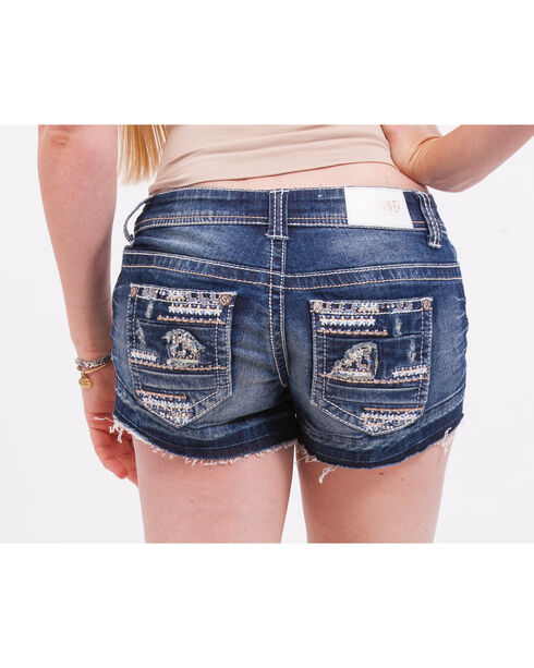 Shyanne Women's Heavy-Stitched Raw Edge Hem Denim Shorts, Blue, hi-res