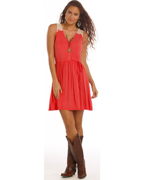 Rock & Roll Cowgirl Women's Coral Crochet Detail Dress, Coral, hi-res