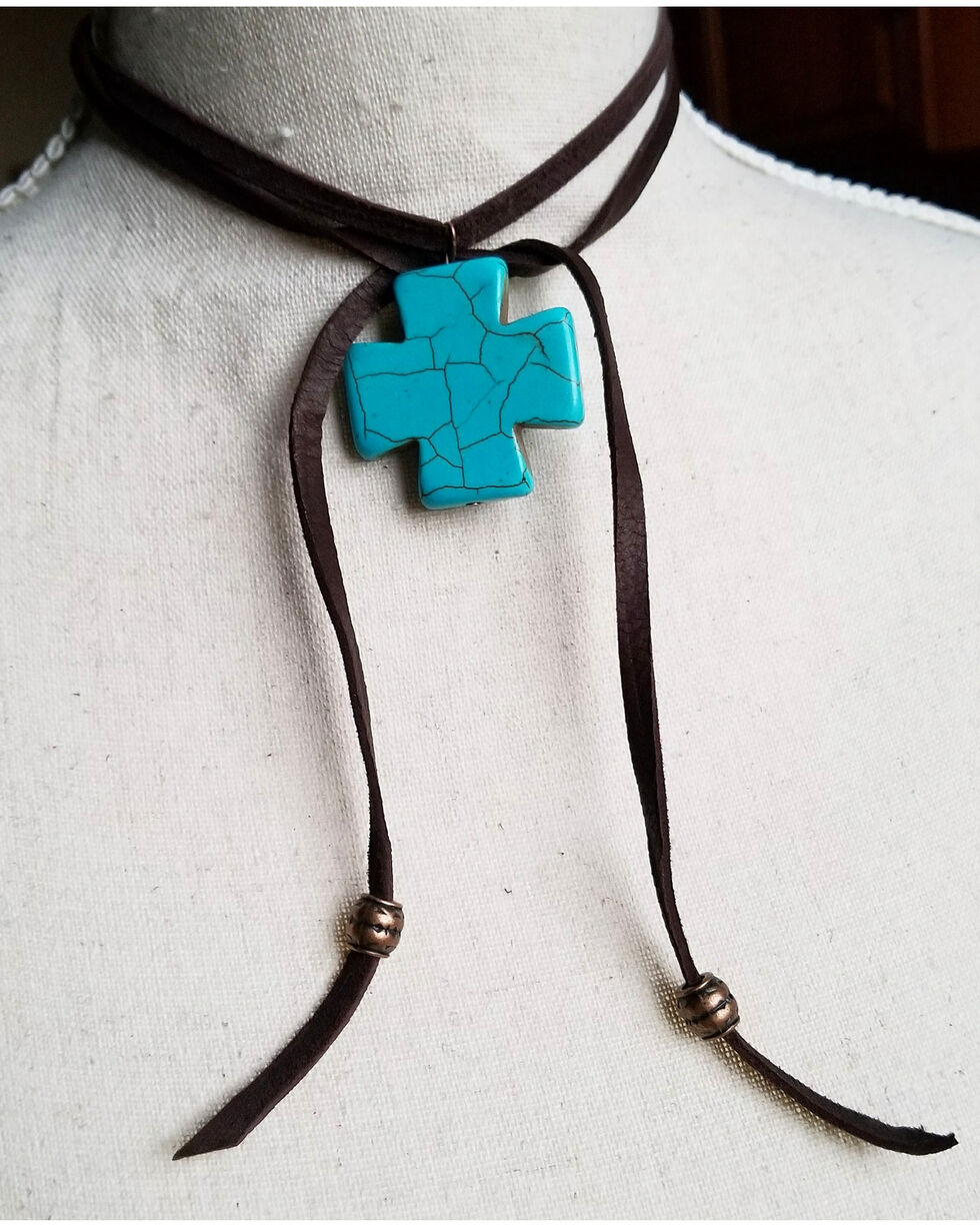 Jewelry Junkie Women's Lariat Turquoise Cross Pendant Necklace , Brown, hi-res