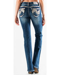 Grace in LA Women's Dark Blue Ava Aztec Denim Flat Pocket Jeans - Boot Cut , , hi-res