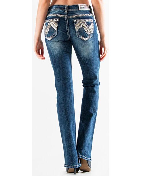 Grace in LA Women's Dark Blue Ava Aztec Denim Flat Pocket Jeans - Boot Cut , Dark Blue, hi-res
