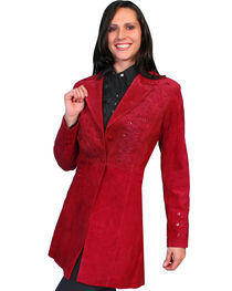Scully Embroidered Boar Suede Long Coat, , hi-res