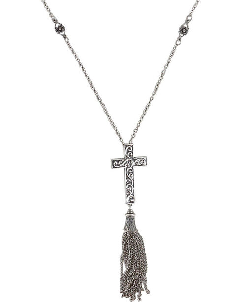 Shyanne® Women's Filigree Cross Necklace , Silver, hi-res