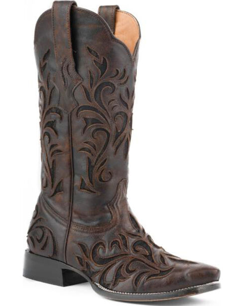 Stetson Women's Filigree Broad Square Toe Western Boots, Dark Brown, hi-res