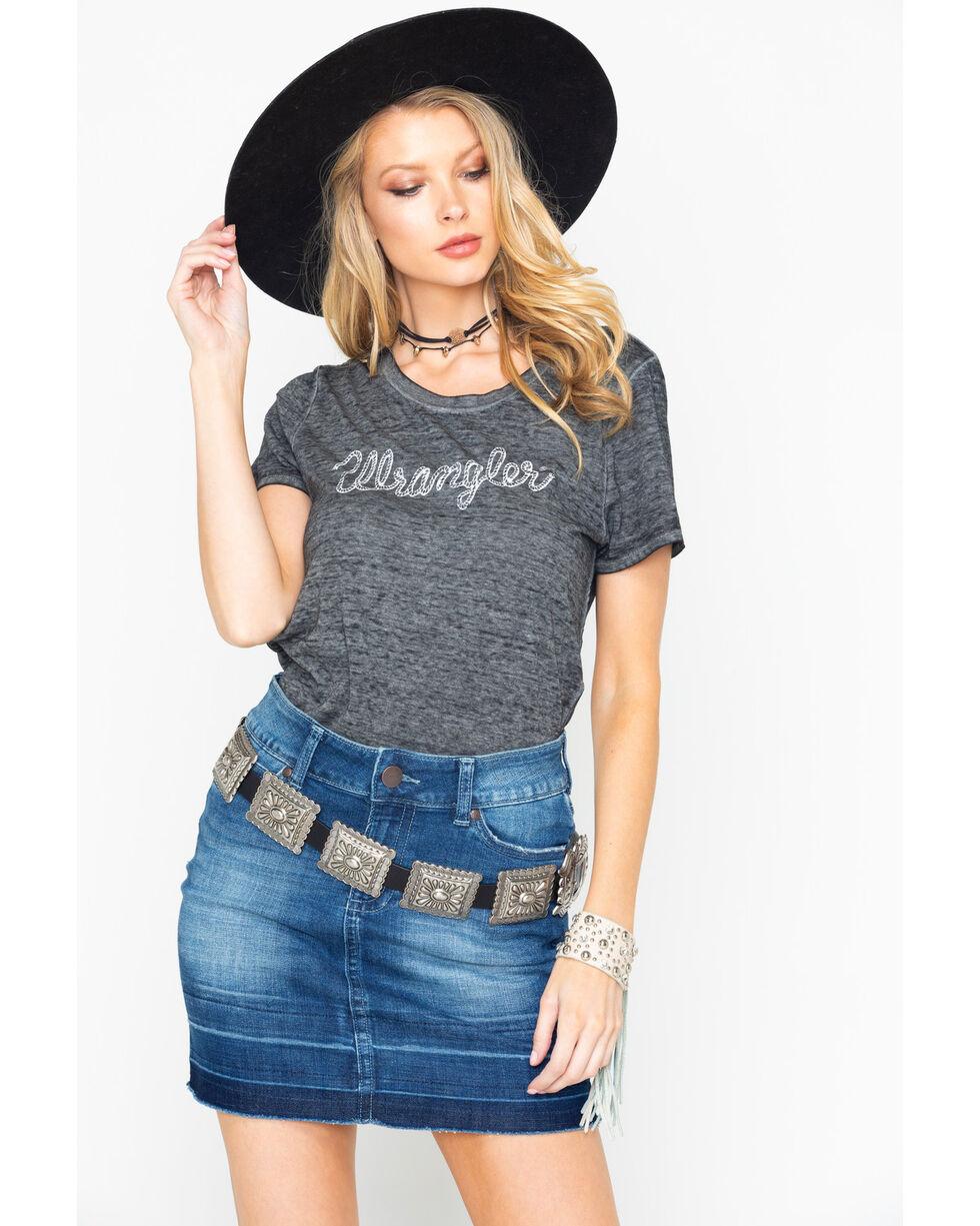 Wrangler Women's Charcoal Burnout Logo Tee , Charcoal, hi-res