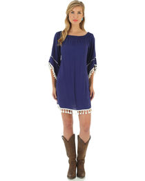 Wrangler Women's Pompom Trimmed Dress, , hi-res