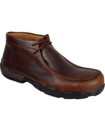 Twisted X Men's Lace Up Steel Toe Driving Mocs, Oiled Rust, hi-res