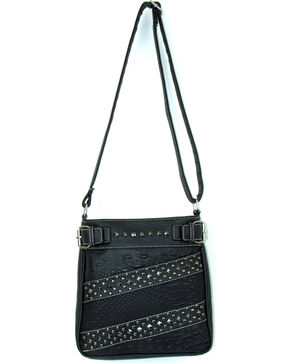 Savana Women's Croc Snake Studded Crossbody Bag, Black, hi-res