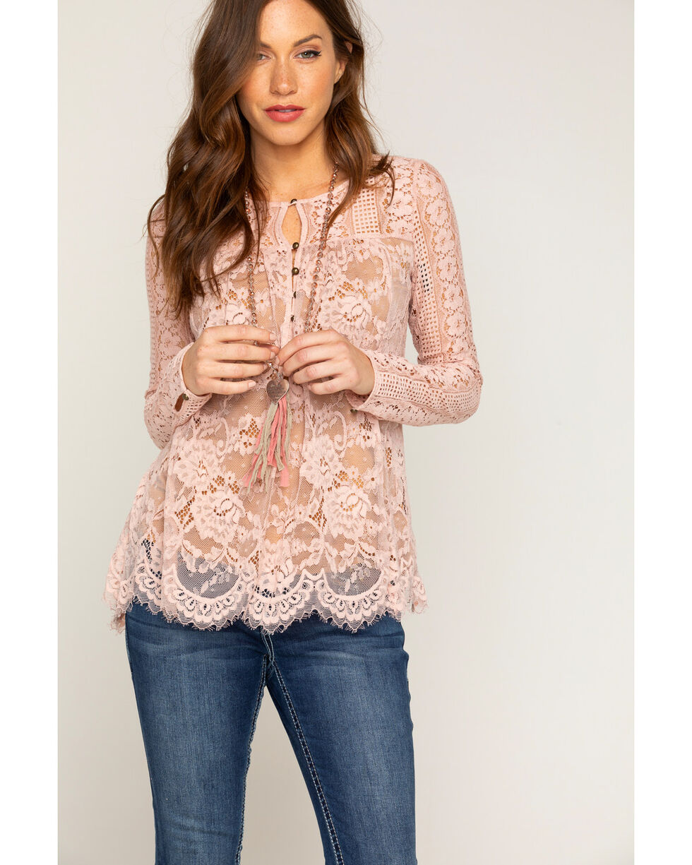 Shyanne® Women's Lace Long Sleeve Peasant Top, Light/pastel Pink, hi-res