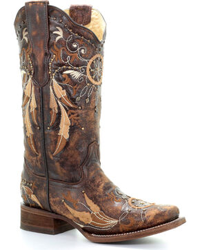 Corral Women's Honey Dream Catcher Western Boots - Square Toe , Honey, hi-res
