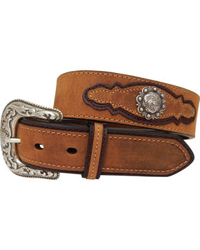 Dan Post Men's Crazyhorse Leather Silver Concho Belt, Brown, hi-res
