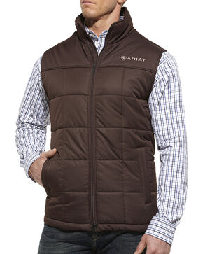 Ariat Men's Crius Quilted Vest, Coffee, hi-res