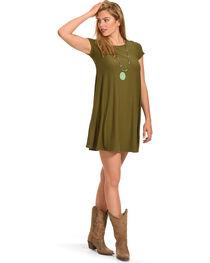 Derek Heart Women's Yara's Yummy Trapeze Olive Dress , , hi-res
