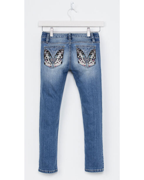 Miss Me Girls' Indigo Butterfly Pocket Jeans - Skinny , Indigo, hi-res