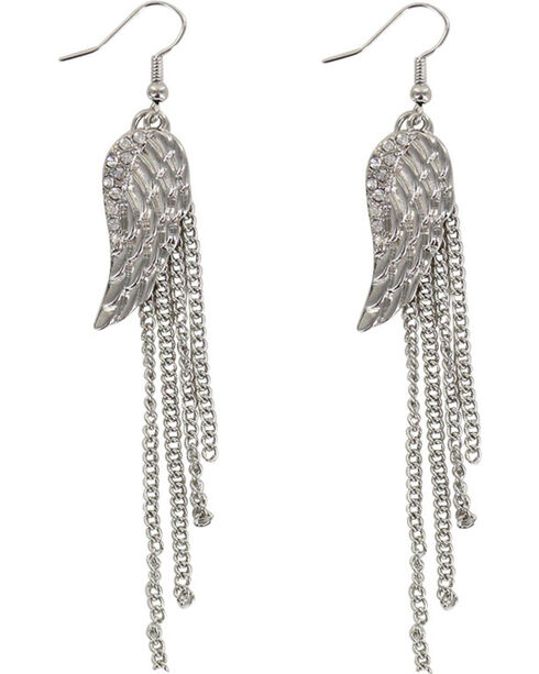 Shyanne® Women's Angel Wing Earrings , Silver, hi-res