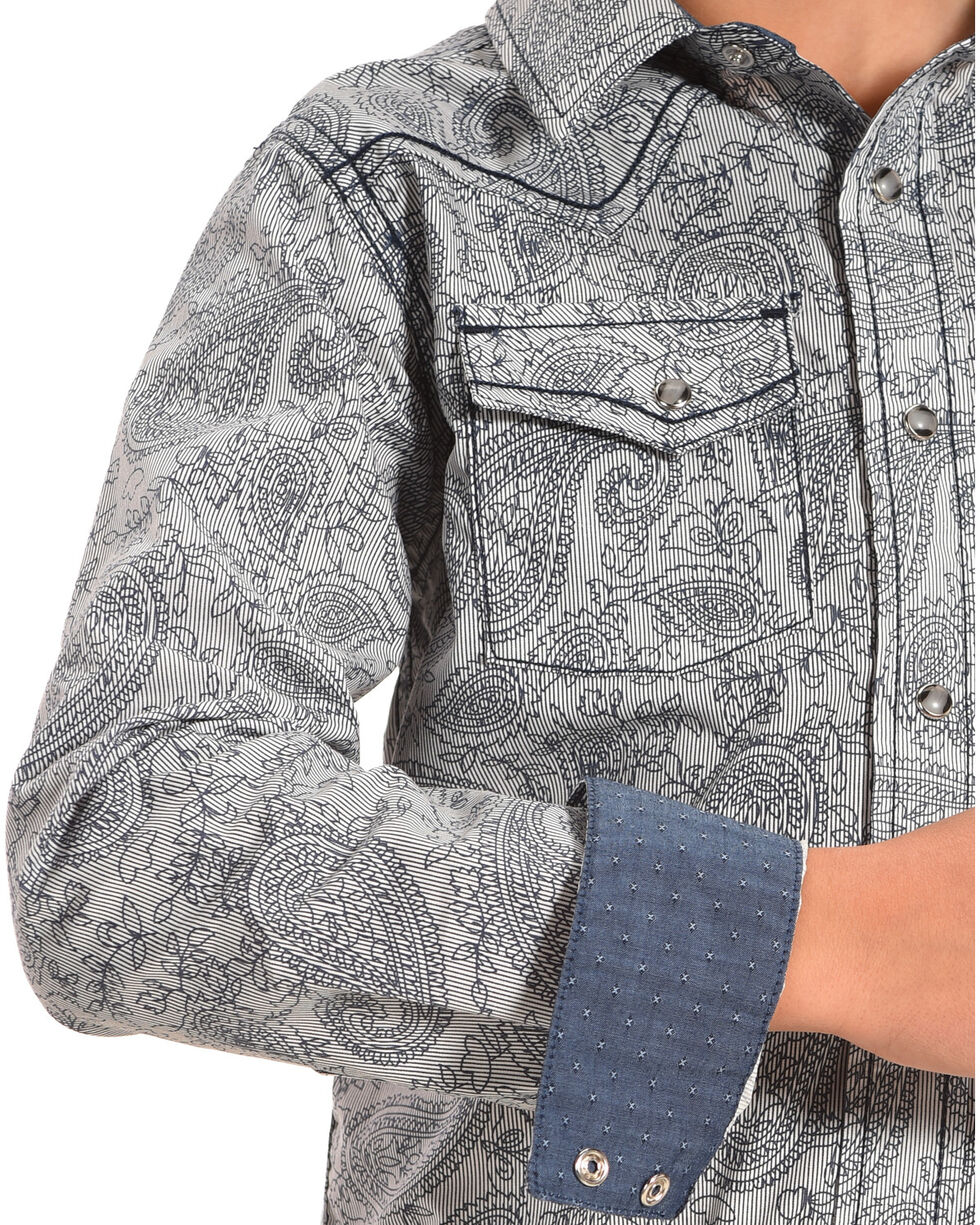 Cody James Boys' Thundercloud Printed Paisley Long Sleeve Shirt, Blue, hi-res