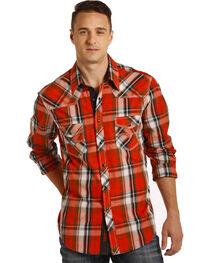 Rock & Roll Cowboy Men's Red Crinkle Washed Plaid Shirt , , hi-res