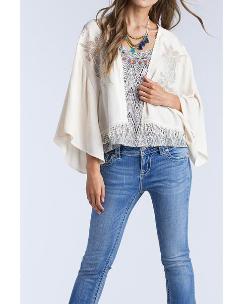 Miss Me Women's Taupe Laser Cut Floral Open Drape Kimono, Taupe, hi-res